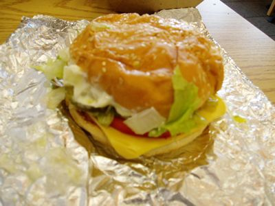 Five Guys Veggie Burger is every topping you want but the meat. The grilled mushrooms and onions give it substance. This is absolutely awesome when craving a burger but want to avoid the meat!