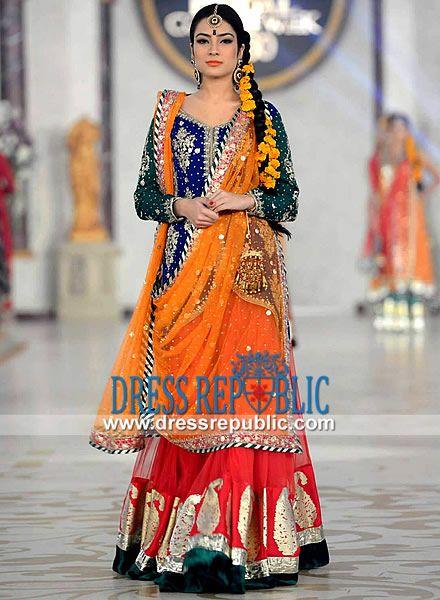 Mehndi Dresses By Maria B : Crinkle chiffon long shirt n two legged sharara maria b