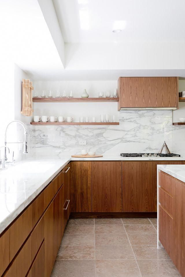 before and after you won t believe this modern marble kitchen rh pinterest com
