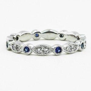 Tiara Eternity Diamond and Sapphire Ring | brilliantearth.com