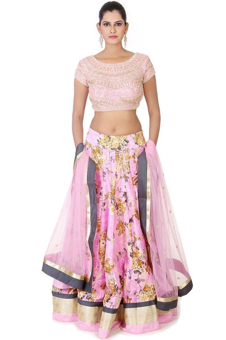 Show details for Floral print lehenga with heavy worked choli in pink
