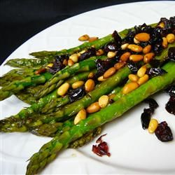 Asparagus with Cranberries and Pine Nuts Recipe - would prob be very good with green beans in lieu of asparagus