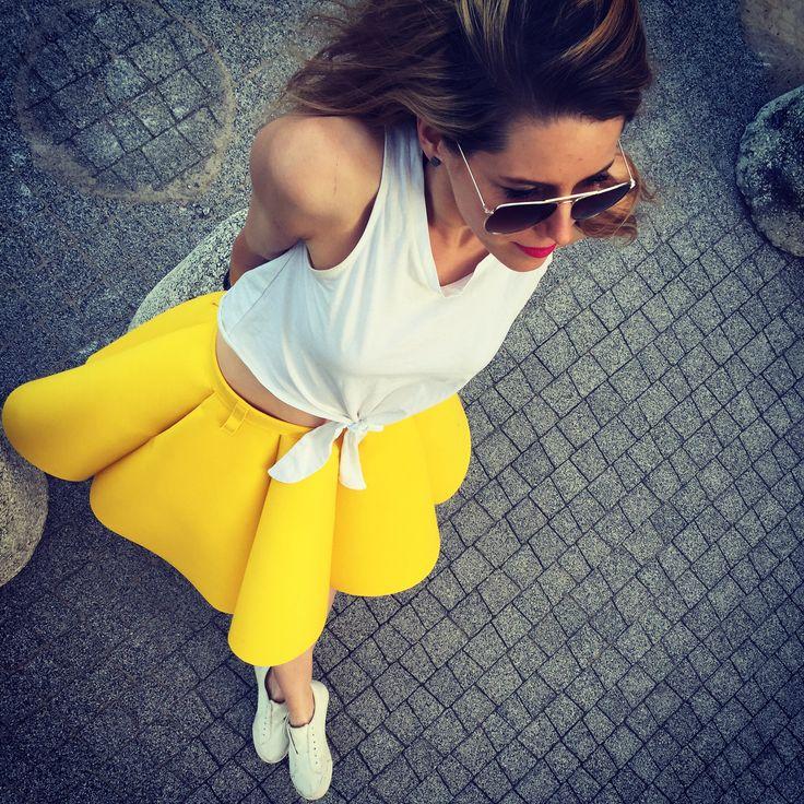 Street glam. Juicy Lemon Felt Skirt. By Sweet Revenge. Handmade