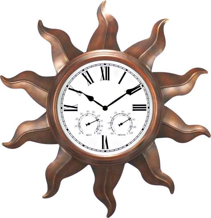 "Ashton Sutton Oversized 24"" Indoor / Outdoor Wall Clock & Reviews | Wayfair"