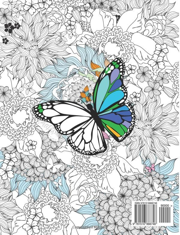 Amazon Adult Coloring Book Butterflies And Flowers Stress Relieving Patterns