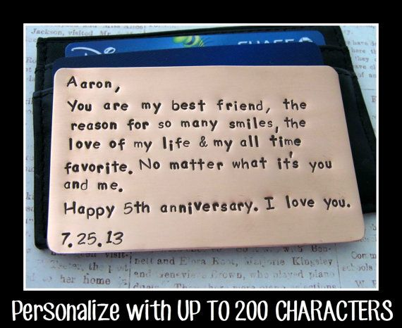 Copper Wallet Insert Card - Personalized Letters Numbers Hand Stamped - UP TO 200 Characters - Husband Boyfriend 7 Seven Year Anniversary