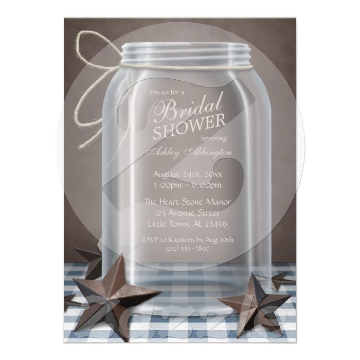 country style wedding shower ideas%0A Custom Mason Jar Rustic Stars Blue Gingham Bridal Shower Custom Invitations  created by starzraven  This invitation design is available on many paper  types
