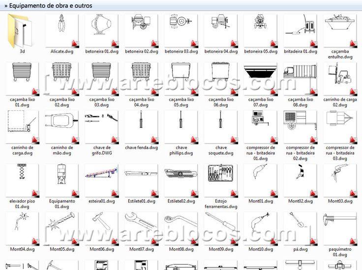 Blocos de autocad para ferramenta, canteiro de obras, betoneira, caçamba, martelo, paquímetro,  carrinho de mão, alicate, etc.  Blocos DWG. http://www.arteblocos.com/