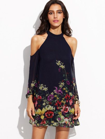 Vestido con estampado flor escote halter hombros descubiertos - marino-Spanish SheIn(Sheinside) Sitio Móvil