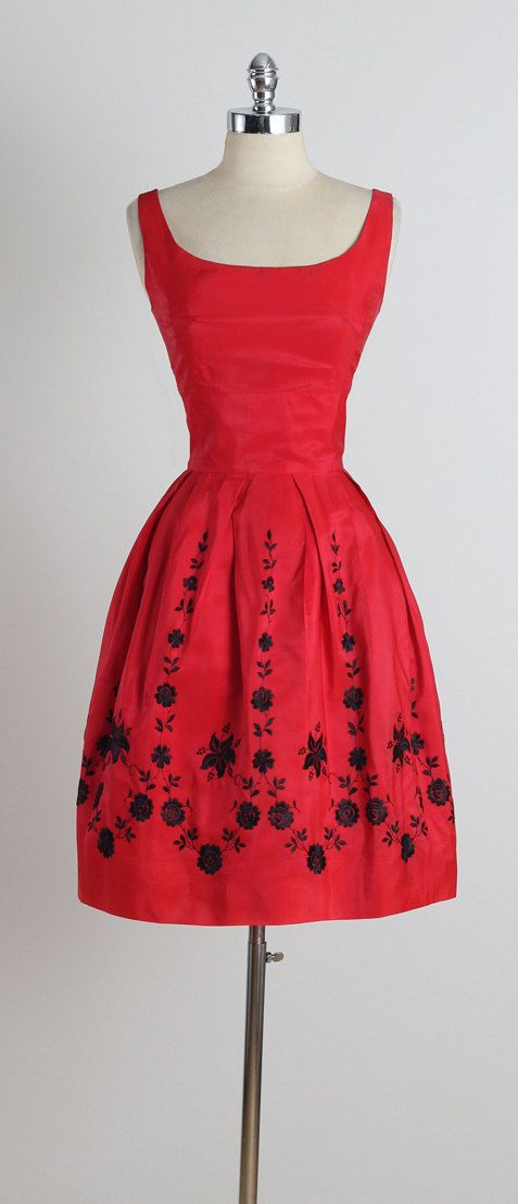 ➳ vintage 1950s dress  * red taffeta * amazing black floral embroidery * metal back zipper * by Paris Vogue Original  condition | excellent
