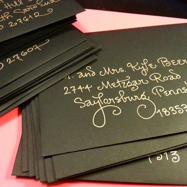 My Curly Contempo In Gold Ink On Black Matte Envelopes