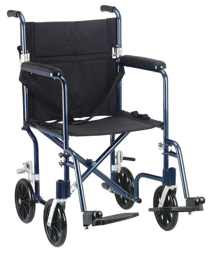 """Drive fw19bl Flyweight Lightweight Folding Transport Wheelchair, 19"""", Blue Frame, Black. The Deluxe 19"""" Fly Weight Aluminum Transport Chair by Drive Medical, available in a variety of attractive colors (frame and upholstery), weighs about 30% less than traditional transport chairs. Weighing only 19 pounds, this chair has a deluxe back release that folds down the back, and the lightweight aluminum frame combine to make this chair easy and convenient to store and transport. The composite, 8""""…"""