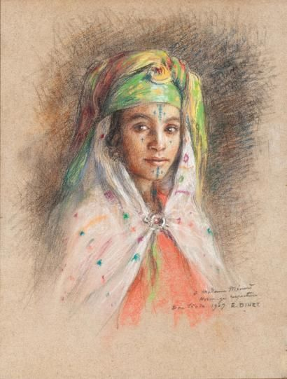 Étienne DINET (1861-1929) Jeune fille de Bou-Saâda Pastel