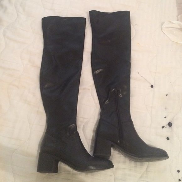 """Aldo thigh high black boots black thigh high boots with a 2"""" heel. Worn a few times.  55 on ♏️ercari says 5, I'm usually a 5.5/5 ALDO Shoes"""