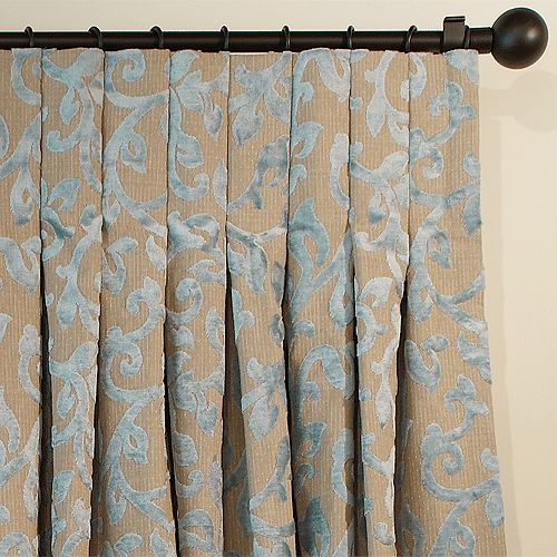 Inverted pleat that is clean lines at top, adds fullness at bottom. Uses rod & clips to hang