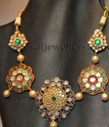 Jadau necklace- uncut diamond. Description by Pinner Mahua Roy Chowdhury