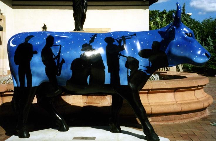 "Kansas City Missouri - Cows on Parade 2001 - ""Jazz Cow"" - 159 life size fiberglass cow statues"