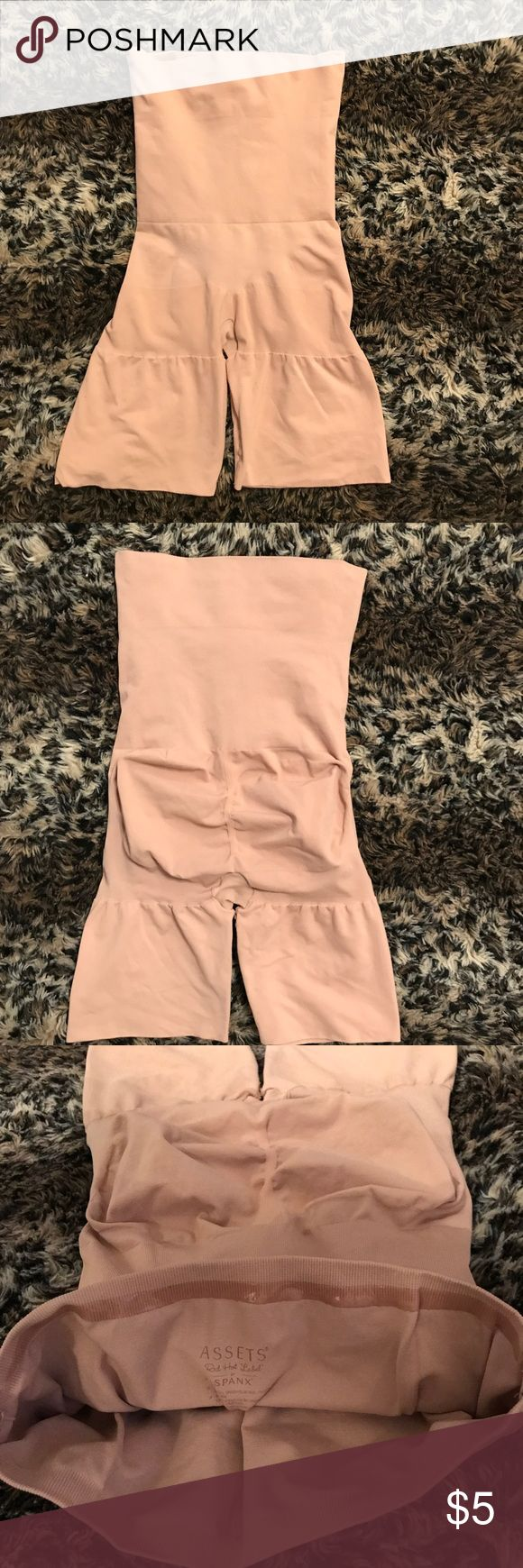 Assets by Spanx body shaper High waist mid thigh shaper, nude color. Has gripping strip on the back, intact. Item is gently loved. This shaper is considered plus size. Assets By Spanx Intimates & Sleepwear Shapewear