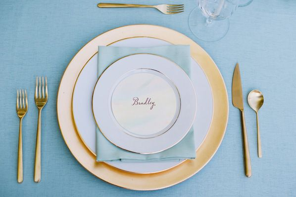 simple blue & gold place setting