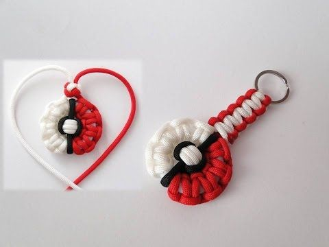 How to Make a Pokemon-Pokeball Themed Paracord Necklace and Keychain - YouTube
