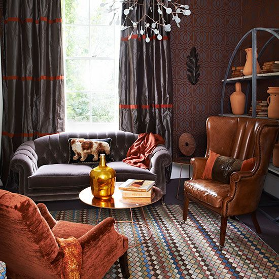 Best 25 silk curtains ideas on pinterest curtain lining fabric gold smock tops and sheffield for Black and burnt orange living room