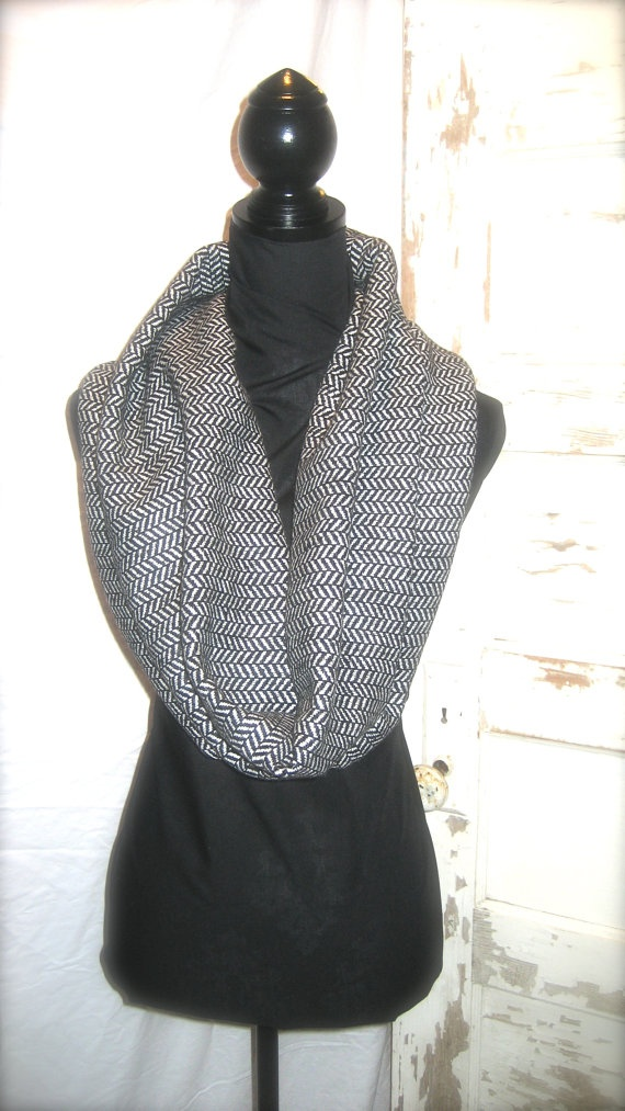 All Zipped Up Black & White Infinity Scarf by StitchofStyle, $30.00