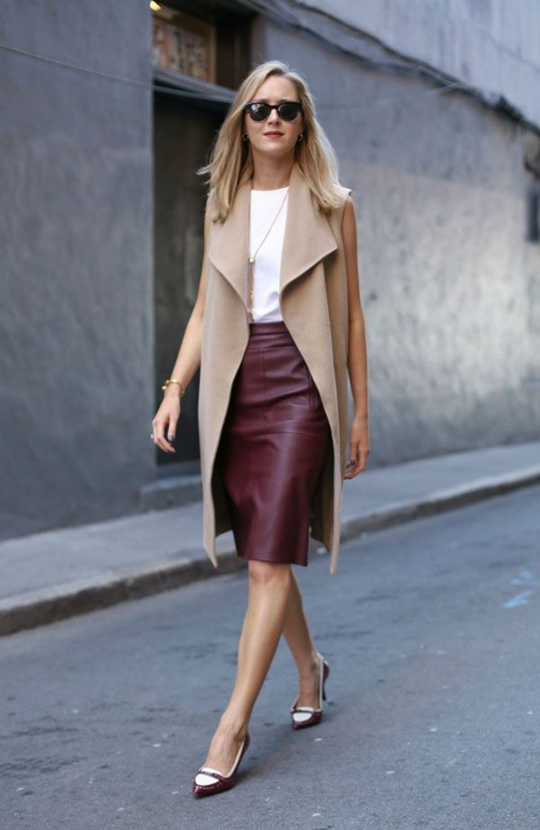 OFFICEWEAR[summer]: leather skirt; white top; beige waistcoat