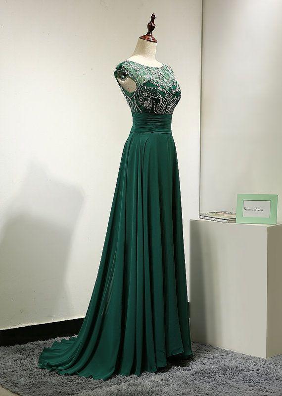 Emerald Green Chiffon Backless Evening Dress by MelissaLife89