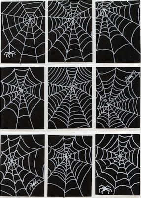 Art Projects for Kids: Spiderweb Art Trading Cards. White poster marker on black scrapbook paper.