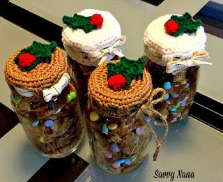 I made up these Holly Berry lid covers to add that festive touch. These covers are so easy to make, it didn't take me long to crochet a dozen.
