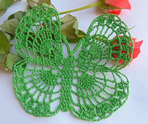 Small Crochet Green Butterfly Papillon Spinnaker by MaddaKnits