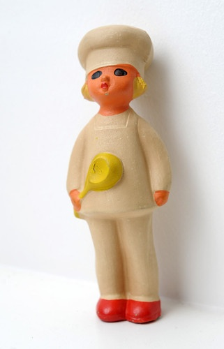 1950s Soviet Russia Vintage Russian RUBBER DOLL TOY GIRL COOK with SPOON.