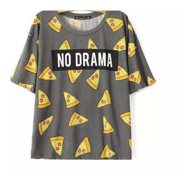 No Drama Pizza Emoji Tshirt Fashion Emoji Shirt ($25) ❤ liked on Polyvore featuring tops, t-shirts, black, women's clothing, black top, t shirts, pattern t shirts, print top and print tees