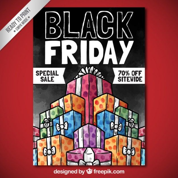 Free vector Hand painted black friday gifts poster #27483