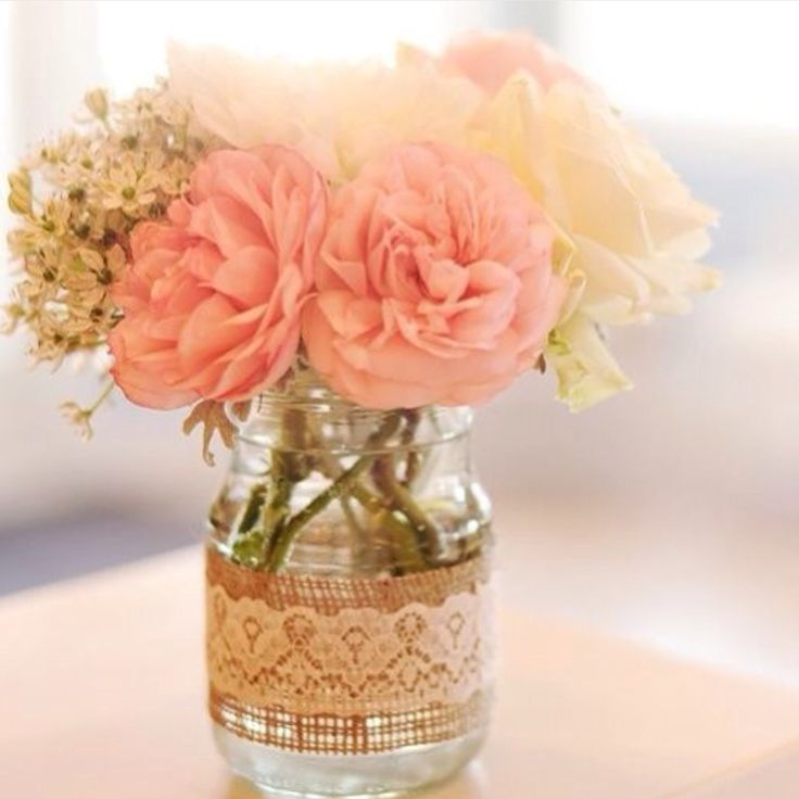bridal shower centerpieces diy%0A DIY inspiration  Burlap  lace and jars  Tip  to prevent the burlap from     Rustic WeddingWedding BellsCenterpiecesBurlap