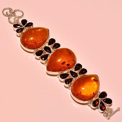 Bracelets 98509: Baltic Amber With Faceted Smokey Topaz Exclusive - 925 Silver Jewelry Bracelet -> BUY IT NOW ONLY: $59.99 on eBay!