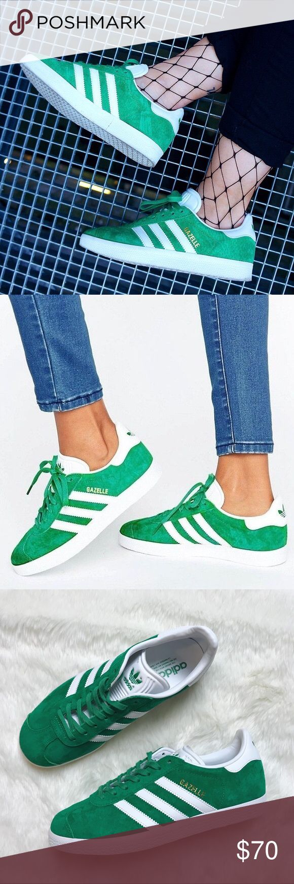 Adidas Green Suede Gazelle Sneakers •Green suede Adidas Gazelle sneakers.  •Mens size 6.5 = Womens 7.5. Runs large and would be best for a 8  •New in box, no lid.  •No trades, no holds. adidas Shoes Sneakers #sneakersadidas #MensFashionSneakers