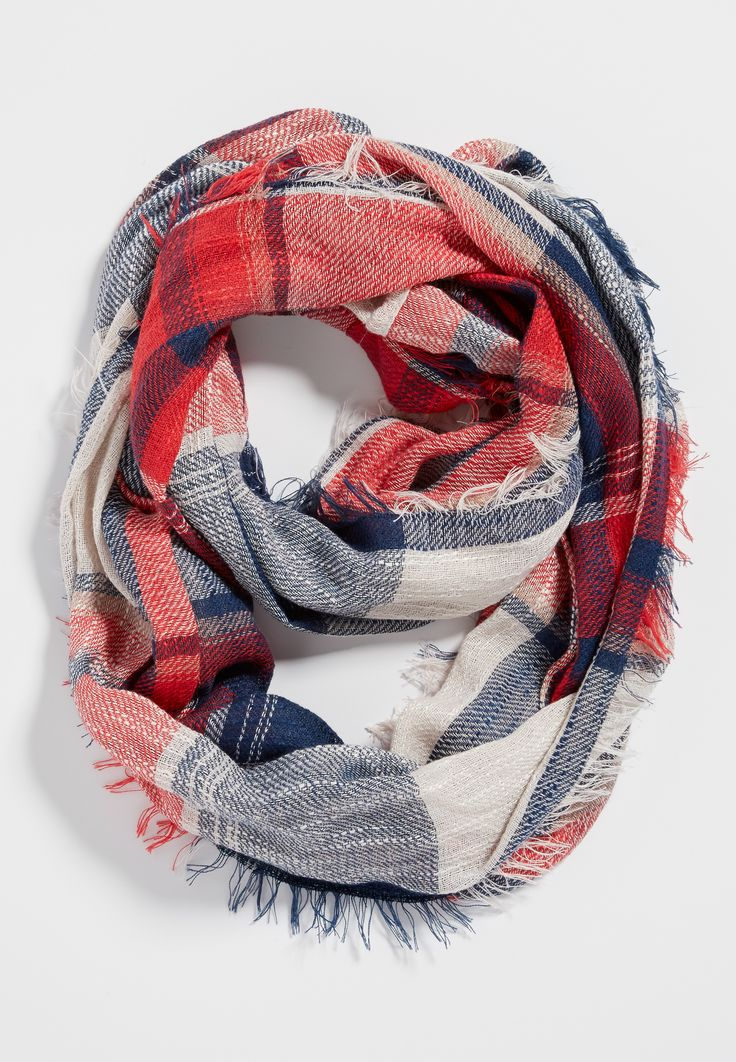 weaved infinity scarf with raw edges in sangria plaid (original price, $16.00) available at #Maurices