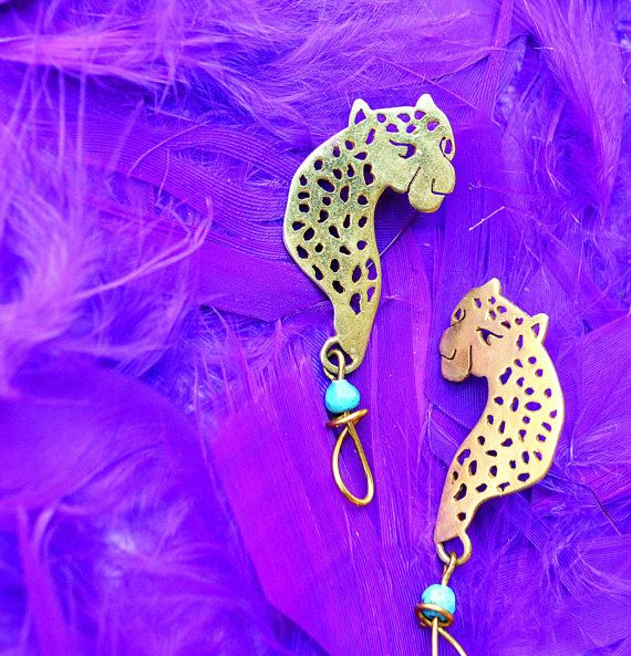leopard earrings tiger earrings gold posts goldplated by annoushe
