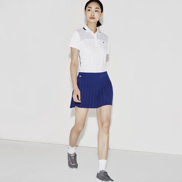 LACOSTE Women's SPORT Tennis Technical Mesh Pleated Skirt - varsity blue. #lacoste #cloth #
