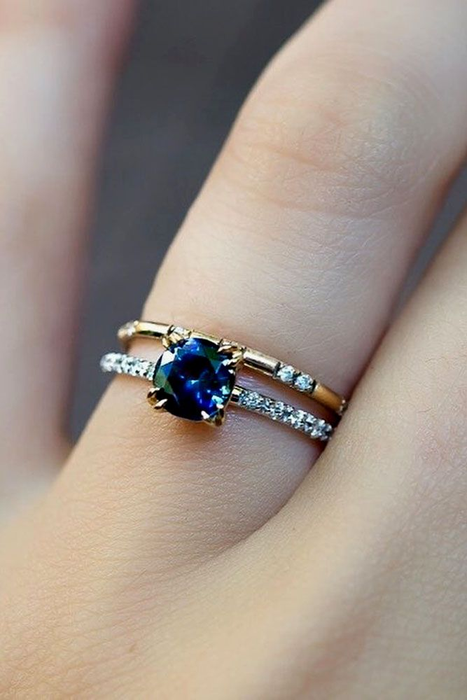 24 Vivid Sapphire Engagement Rings ❤ See more: http://www.weddingforward.com/sapphire-engagement-rings/ #wedding