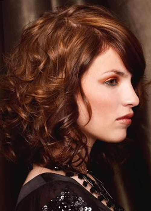 Shoulder Length Curly Hairstyles with Bangs - Cute but shorter than I want (and my bangs won't stay that straight):