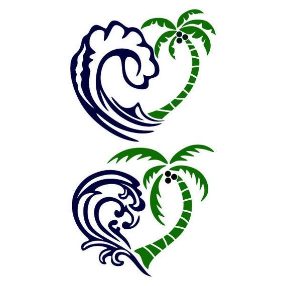 Palm Tree Ocean Waves Heart Love Beach Cuttable Design SVG PNG DXF & eps Designs Cameo File Silhouet
