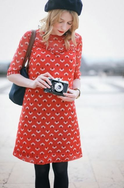 quirky vintage french chic style fashion for holiday wear sight seeing weekends arty days at the gallery and backpacker capsule wardrobes love it alice , may want to drop the beret in france though the print on this dress is adorable :)