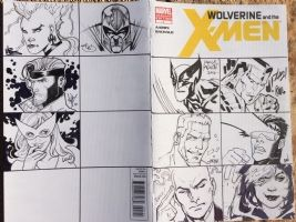 The Uncanny X-Men Back and Front Cover (work in progress) (Storm, Magneto, Gambit, Jean Grey, Wolverine, Colussus, Iceman, Cyclops, Professor X, Rogue)  Comic Art