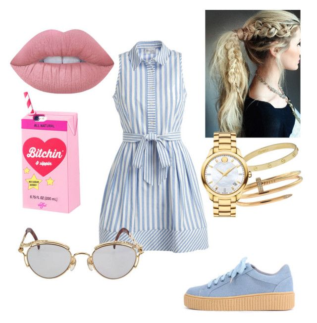 """""""Без названия #100"""" by elleeli ❤ liked on Polyvore featuring Lime Crime, Valfré, Milly, Cartier, Movado and Jean-Paul Gaultier"""