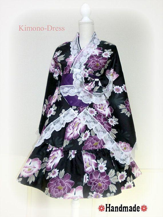 Japanese Kimono Dress Jacket washable Flower Lace black Dress Cosplay Gothic and Lolita Ribbon Maid Dress Kimono Robe Skirt Asian Kawaii 8