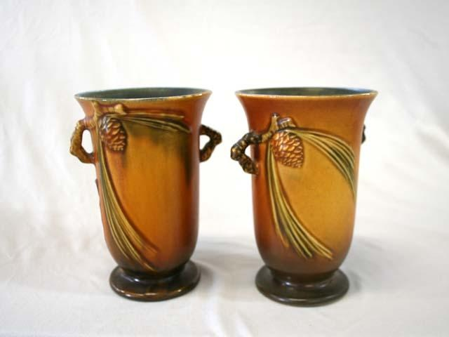 Roseville Pottery Pine Cone Vases