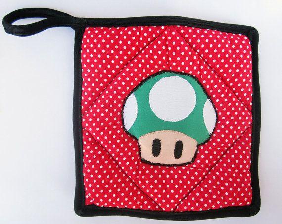 Super Mario Green Mushroom Applique on Red Polka Dot Pot Holder by OfflinePixels