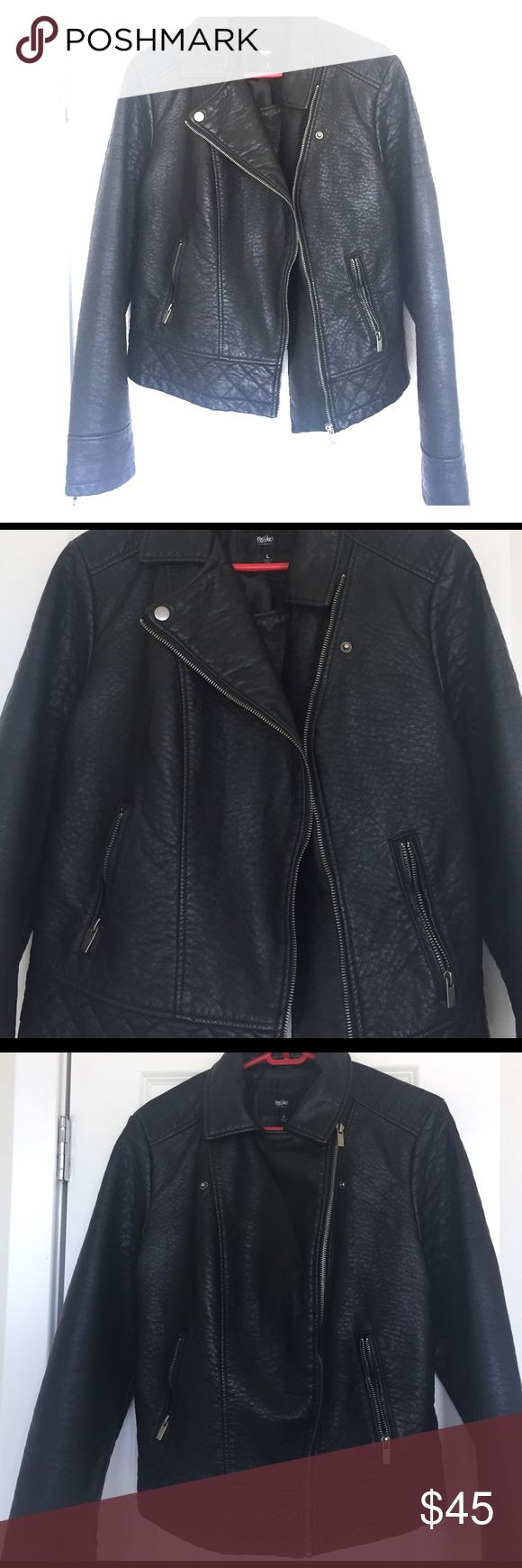 Women's Leather Jacket Women's Black Faux Leather Jacket ... two zipper pockets in front ... silver zippers and snaps ... quilted detailed around the bottom and on the shoulders ... worn only once Mossimo Supply Co Jackets & Coats Utility Jackets